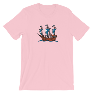 Explorer's Caravele Flagship Unisex T-Shirt, Collection Ships & Boats-Pink-S-Tamed Winds-tshirt-shop-and-sailing-blog-www-tamedwinds-com