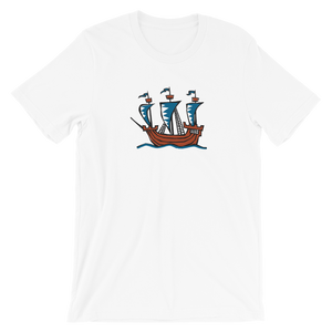 Explorer's Caravele Flagship Unisex T-Shirt, Collection Ships & Boats-White-XS-Tamed Winds-tshirt-shop-and-sailing-blog-www-tamedwinds-com