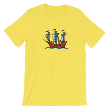 Explorer's Caravele Flagship Unisex T-Shirt, Collection Ships & Boats-Yellow-S-Tamed Winds-tshirt-shop-and-sailing-blog-www-tamedwinds-com