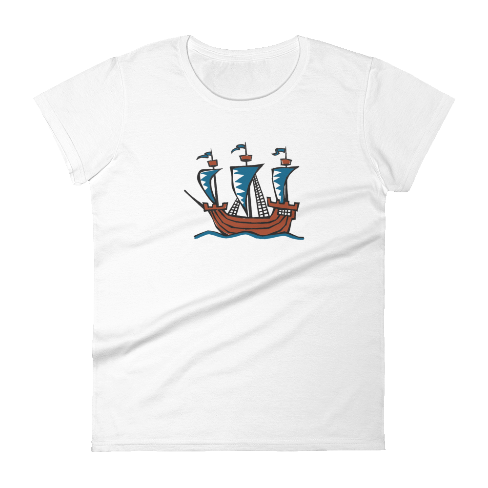 Explorer's Caravele Flagship Women's Round Neck T-Shirt, Collection Ships & Boats-White-S-Tamed Winds-tshirt-shop-and-sailing-blog-www-tamedwinds-com