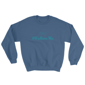 Follow Me Unisex Crewneck Sweatshirt, Collection Origami Boat-Indigo Blue-S-Tamed Winds-tshirt-shop-and-sailing-blog-www-tamedwinds-com