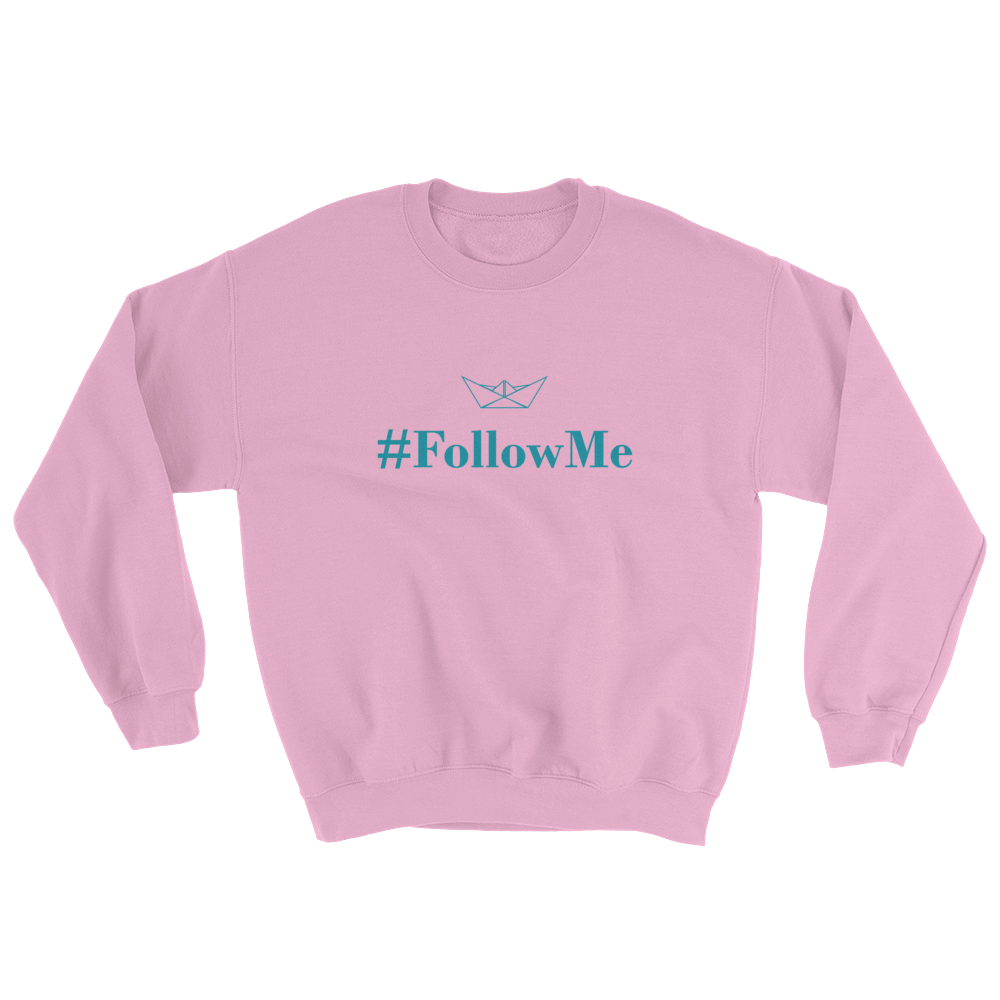 Follow Me Unisex Crewneck Sweatshirt, Collection Origami Boat-Light Pink-S-Tamed Winds-tshirt-shop-and-sailing-blog-www-tamedwinds-com