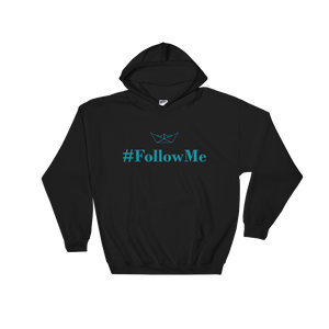 Follow Me Unisex Hooded Sweatshirt, Collection Origami Boat-Black-S-Tamed Winds-tshirt-shop-and-sailing-blog-www-tamedwinds-com