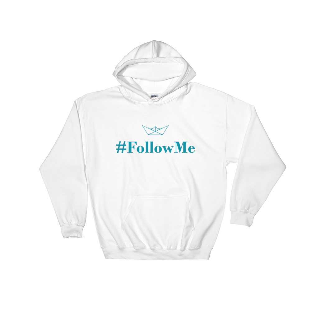 Follow Me Unisex Hooded Sweatshirt, Collection Origami Boat-White-S-Tamed Winds-tshirt-shop-and-sailing-blog-www-tamedwinds-com