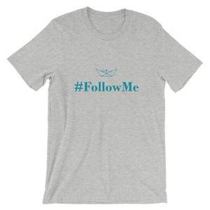 Follow Me Unisex T-Shirt, Collection Origami Boat-Athletic Heather-S-Tamed Winds-tshirt-shop-and-sailing-blog-www-tamedwinds-com