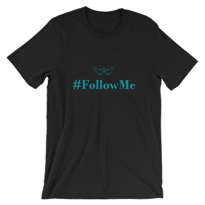 Follow Me Unisex T-Shirt, Collection Origami Boat-Black-S-Tamed Winds-tshirt-shop-and-sailing-blog-www-tamedwinds-com