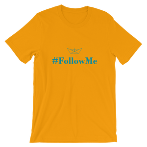 Follow Me Unisex T-Shirt, Collection Origami Boat-Gold-S-Tamed Winds-tshirt-shop-and-sailing-blog-www-tamedwinds-com