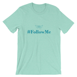 Follow Me Unisex T-Shirt, Collection Origami Boat-Heather Mint-S-Tamed Winds-tshirt-shop-and-sailing-blog-www-tamedwinds-com