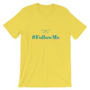 Follow Me Unisex T-Shirt, Collection Origami Boat-Yellow-S-Tamed Winds-tshirt-shop-and-sailing-blog-www-tamedwinds-com