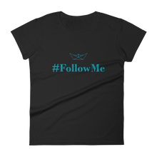Follow Me Women's Round Neck T-Shirt, Collection Origami Boat-Black-S-Tamed Winds-tshirt-shop-and-sailing-blog-www-tamedwinds-com