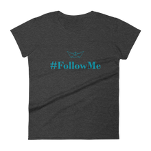 Follow Me Women's Round Neck T-Shirt, Collection Origami Boat-Heather Dark Grey-S-Tamed Winds-tshirt-shop-and-sailing-blog-www-tamedwinds-com