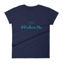Follow Me Women's Round Neck T-Shirt, Collection Origami Boat-Navy-S-Tamed Winds-tshirt-shop-and-sailing-blog-www-tamedwinds-com