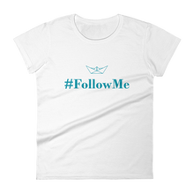 Follow Me Women's Round Neck T-Shirt, Collection Origami Boat-White-S-Tamed Winds-tshirt-shop-and-sailing-blog-www-tamedwinds-com