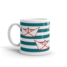Four Paper Boats Mug 325 ml, Collection Origami Boat-Tamed Winds-tshirt-shop-and-sailing-blog-www-tamedwinds-com