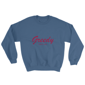 Greedy Unisex Crewneck Sweatshirt, Collection Nicknames-Indigo Blue-S-Tamed Winds-tshirt-shop-and-sailing-blog-www-tamedwinds-com
