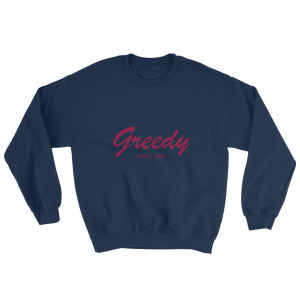 Greedy Unisex Crewneck Sweatshirt, Collection Nicknames-Navy-S-Tamed Winds-tshirt-shop-and-sailing-blog-www-tamedwinds-com