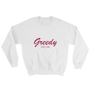 Greedy Unisex Crewneck Sweatshirt, Collection Nicknames-White-S-Tamed Winds-tshirt-shop-and-sailing-blog-www-tamedwinds-com