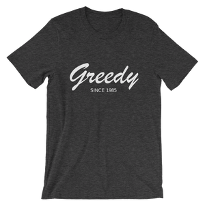 Greedy Unisex T-Shirt, Collection Nicknames-Dark Grey Heather-S-Tamed Winds-tshirt-shop-and-sailing-blog-www-tamedwinds-com