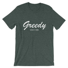 Greedy Unisex T-Shirt, Collection Nicknames-Heather Forest-S-Tamed Winds-tshirt-shop-and-sailing-blog-www-tamedwinds-com