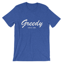 Greedy Unisex T-Shirt, Collection Nicknames-Heather True Royal-S-Tamed Winds-tshirt-shop-and-sailing-blog-www-tamedwinds-com