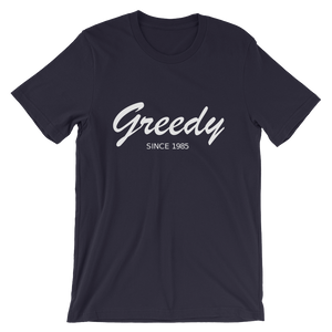 Greedy Unisex T-Shirt, Collection Nicknames-Navy-S-Tamed Winds-tshirt-shop-and-sailing-blog-www-tamedwinds-com