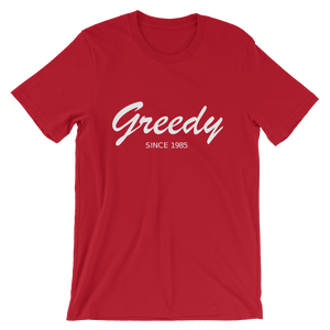 Greedy Unisex T-Shirt, Collection Nicknames-Red-S-Tamed Winds-tshirt-shop-and-sailing-blog-www-tamedwinds-com