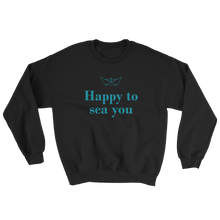 Happy To Sea You Unisex Crewneck Sweatshirt, Collection Origami Boat-Black-S-Tamed Winds-tshirt-shop-and-sailing-blog-www-tamedwinds-com