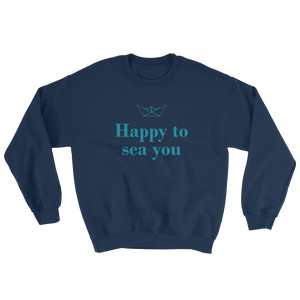 Happy To Sea You Unisex Crewneck Sweatshirt, Collection Origami Boat-Navy-S-Tamed Winds-tshirt-shop-and-sailing-blog-www-tamedwinds-com