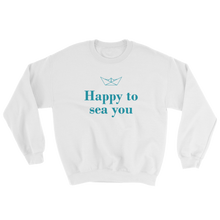 Happy To Sea You Unisex Crewneck Sweatshirt, Collection Origami Boat-White-S-Tamed Winds-tshirt-shop-and-sailing-blog-www-tamedwinds-com