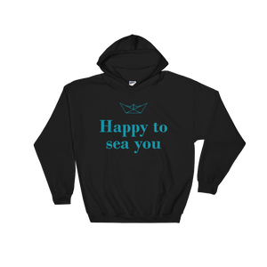 Happy To Sea You Unisex Hooded Sweatshirt, Collection Origami Boat-Black-S-Tamed Winds-tshirt-shop-and-sailing-blog-www-tamedwinds-com