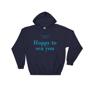 Happy To Sea You Unisex Hooded Sweatshirt, Collection Origami Boat-Navy-S-Tamed Winds-tshirt-shop-and-sailing-blog-www-tamedwinds-com