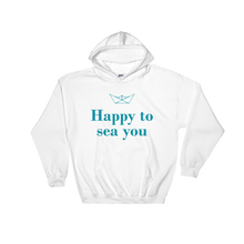 Happy To Sea You Unisex Hooded Sweatshirt, Collection Origami Boat-White-S-Tamed Winds-tshirt-shop-and-sailing-blog-www-tamedwinds-com