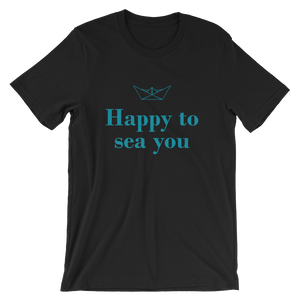 Happy To Sea You Unisex T-Shirt, Collection Origami Boat-Black-S-Tamed Winds-tshirt-shop-and-sailing-blog-www-tamedwinds-com