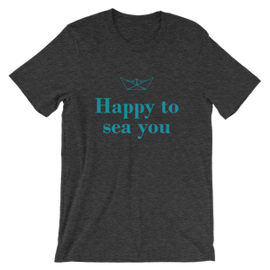 Happy To Sea You Unisex T-Shirt, Collection Origami Boat-Dark Grey Heather-S-Tamed Winds-tshirt-shop-and-sailing-blog-www-tamedwinds-com
