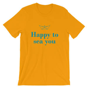 Happy To Sea You Unisex T-Shirt, Collection Origami Boat-Gold-S-Tamed Winds-tshirt-shop-and-sailing-blog-www-tamedwinds-com