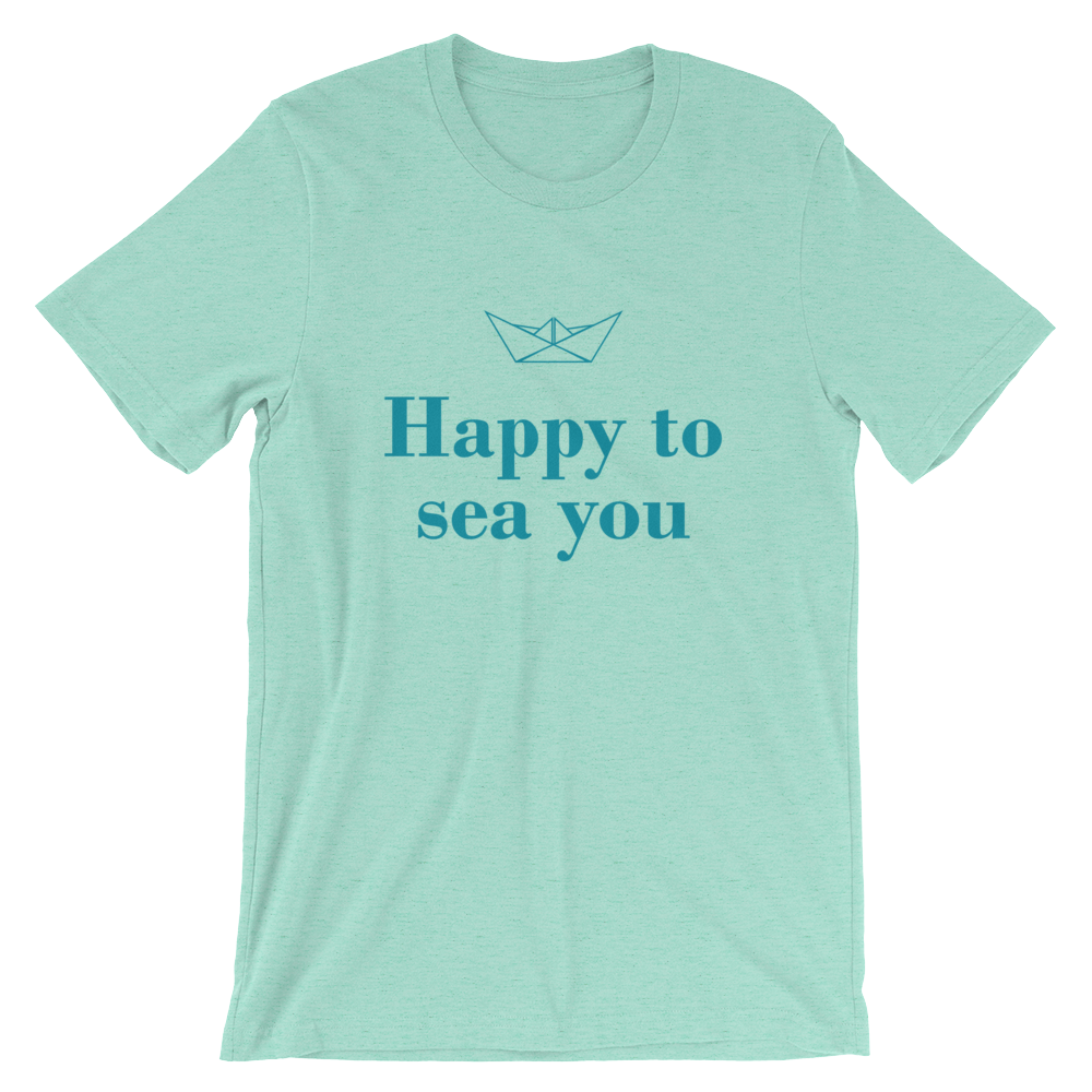 Happy To Sea You Unisex T-Shirt, Collection Origami Boat-Heather Mint-S-Tamed Winds-tshirt-shop-and-sailing-blog-www-tamedwinds-com