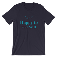 Happy To Sea You Unisex T-Shirt, Collection Origami Boat-Navy-S-Tamed Winds-tshirt-shop-and-sailing-blog-www-tamedwinds-com