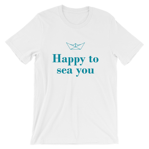 Happy To Sea You Unisex T-Shirt, Collection Origami Boat-White-S-Tamed Winds-tshirt-shop-and-sailing-blog-www-tamedwinds-com