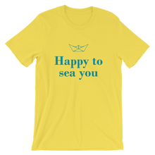 Happy To Sea You Unisex T-Shirt, Collection Origami Boat-Yellow-S-Tamed Winds-tshirt-shop-and-sailing-blog-www-tamedwinds-com
