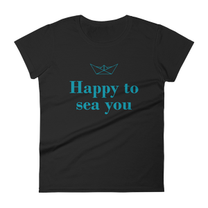Happy To Sea You Women's Round Neck T-Shirt, Collection Origami Boat-Black-S-Tamed Winds-tshirt-shop-and-sailing-blog-www-tamedwinds-com