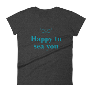 Happy To Sea You Women's Round Neck T-Shirt, Collection Origami Boat-Heather Dark Grey-S-Tamed Winds-tshirt-shop-and-sailing-blog-www-tamedwinds-com