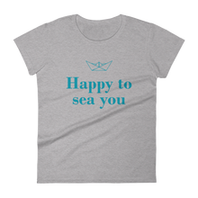 Happy To Sea You Women's Round Neck T-Shirt, Collection Origami Boat-Heather Grey-S-Tamed Winds-tshirt-shop-and-sailing-blog-www-tamedwinds-com