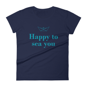 Happy To Sea You Women's Round Neck T-Shirt, Collection Origami Boat-Navy-S-Tamed Winds-tshirt-shop-and-sailing-blog-www-tamedwinds-com