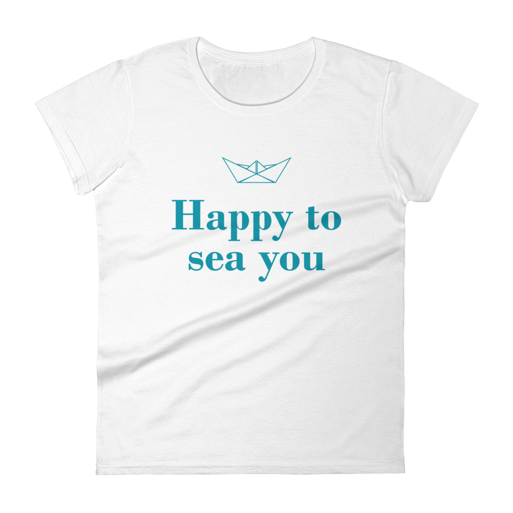 Happy To Sea You Women's Round Neck T-Shirt, Collection Origami Boat-White-S-Tamed Winds-tshirt-shop-and-sailing-blog-www-tamedwinds-com