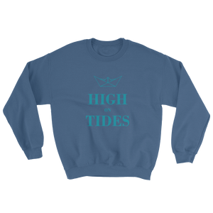 High On Tides Unisex Crewneck Sweatshirt, Collection Origami Boat-Indigo Blue-S-Tamed Winds-tshirt-shop-and-sailing-blog-www-tamedwinds-com