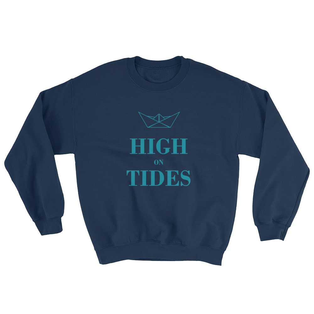 High On Tides Unisex Crewneck Sweatshirt, Collection Origami Boat-Navy-S-Tamed Winds-tshirt-shop-and-sailing-blog-www-tamedwinds-com