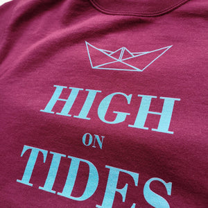 High On Tides Unisex Crewneck Sweatshirt, Collection Origami Boat-Tamed Winds-tshirt-shop-and-sailing-blog-www-tamedwinds-com