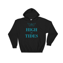 High On Tides Unisex Hooded Sweatshirt, Collection Origami Boat-Black-S-Tamed Winds-tshirt-shop-and-sailing-blog-www-tamedwinds-com