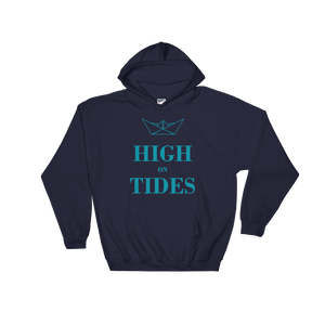 High On Tides Unisex Hooded Sweatshirt, Collection Origami Boat-Navy-S-Tamed Winds-tshirt-shop-and-sailing-blog-www-tamedwinds-com