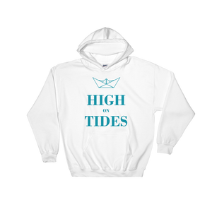 High On Tides Unisex Hooded Sweatshirt, Collection Origami Boat-White-S-Tamed Winds-tshirt-shop-and-sailing-blog-www-tamedwinds-com